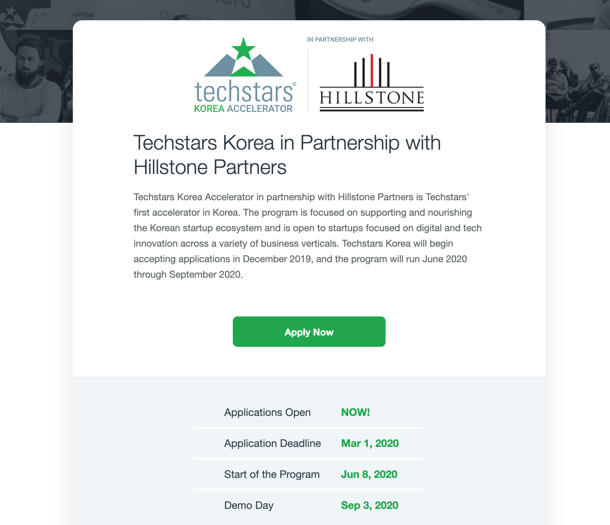 Techstars Korea in Partnership with Hilstone Partners